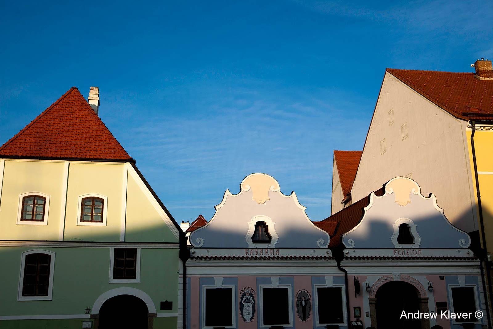 Candy cane buildings of Trebon, Czech Republic, 2013