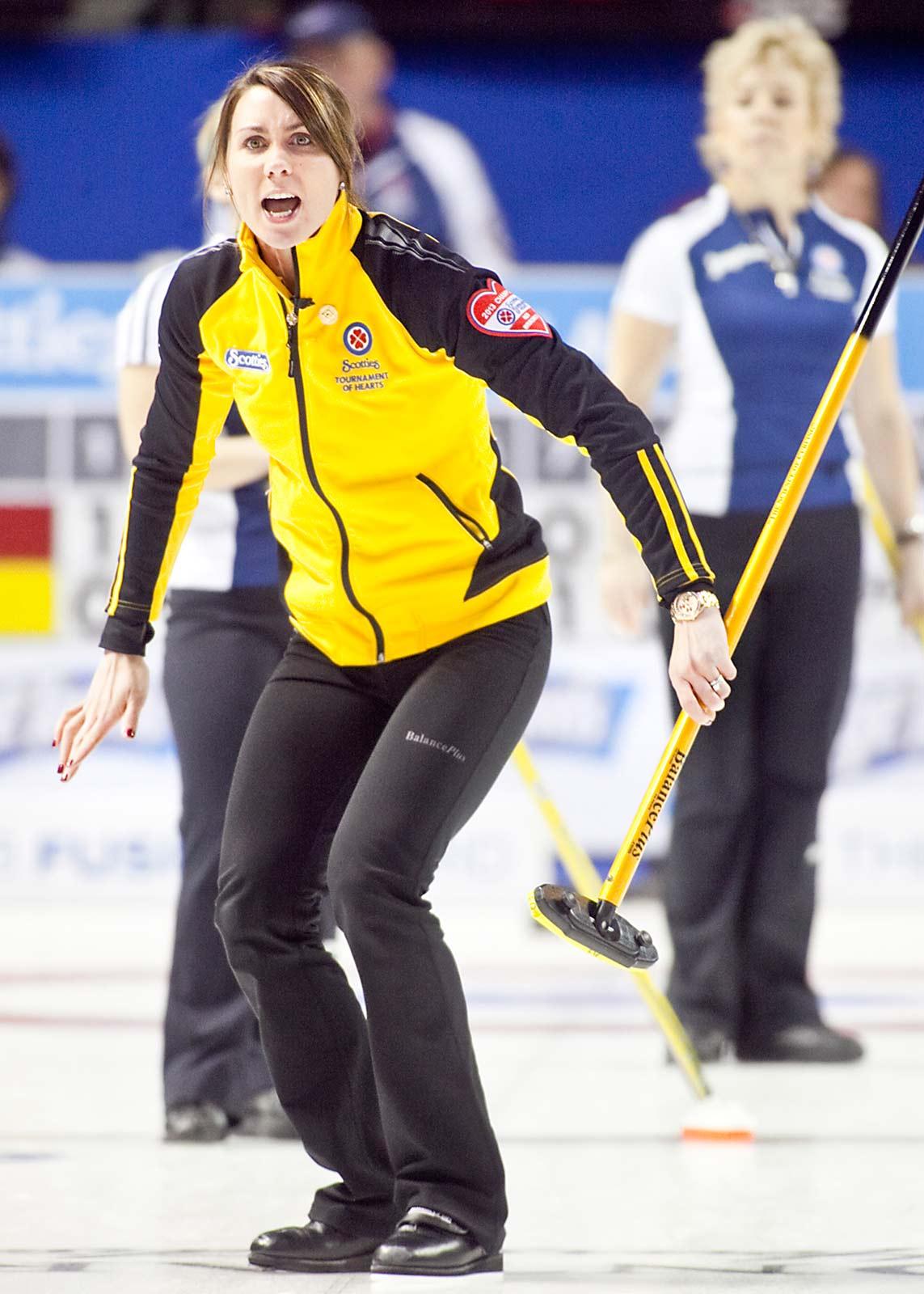 Andrea Crawford playing against Team Nova Scotia