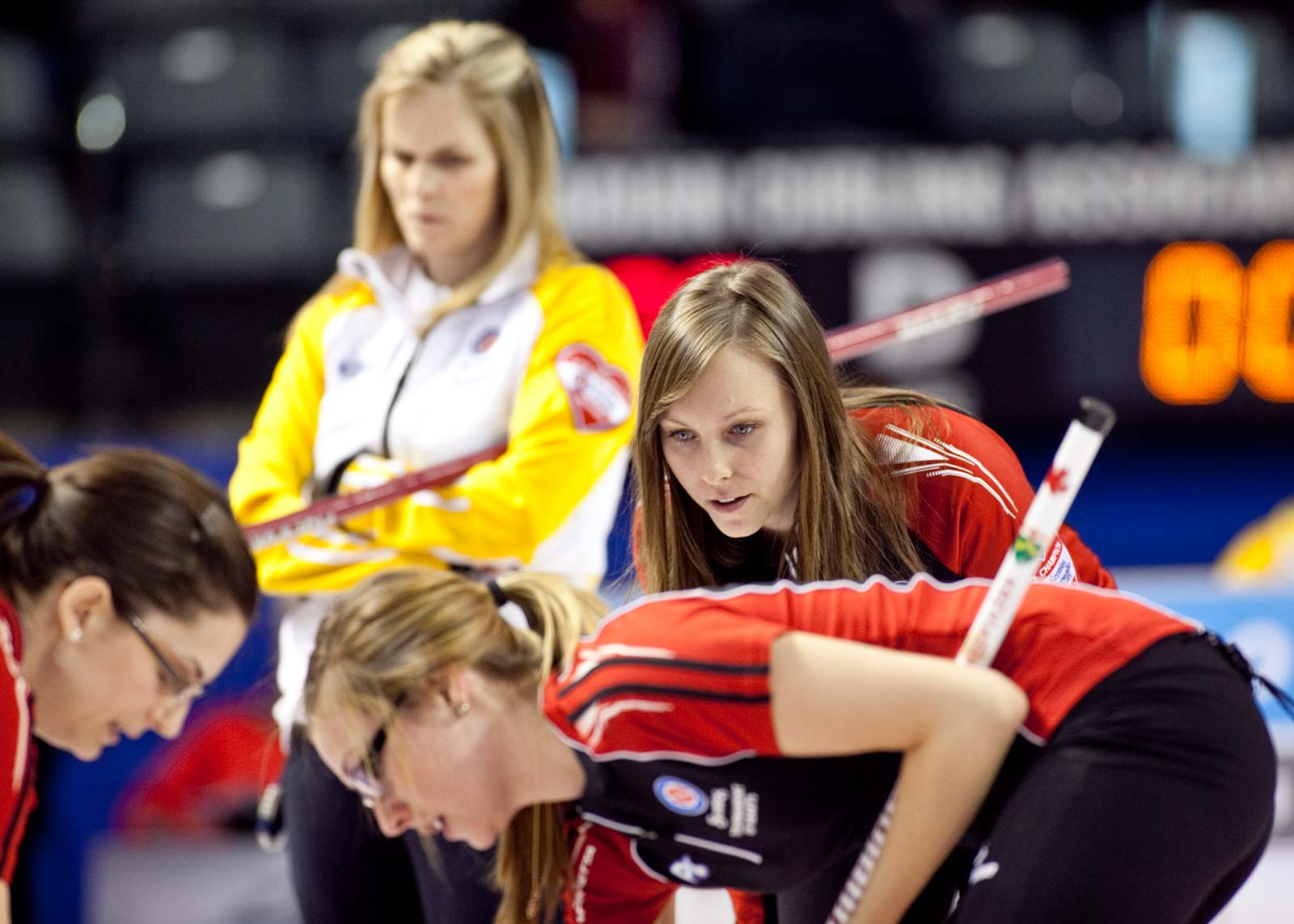 Rachel Homan calls instructions to second Alison Kreviazuk and lead Lisa Weagle Team Ontario,